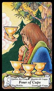 betekenis tarotkaart Bekers Vier